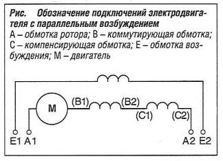 Обозначение подключений электродвигателя с параллельным возбуждением