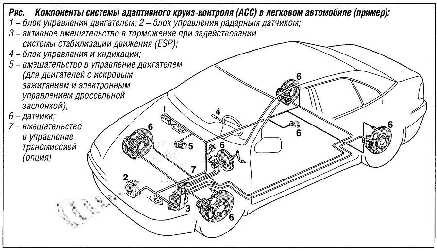 Компоненты системы адаптивного круиз-контроля (ACC) в легковом автомобиле