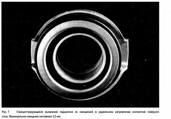 Самоцентрирующийся выжимной подшипник со смещаемой в радиальном направлении контактной поверхностью. Максимальное смещение составляет 2,5 мм